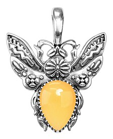 Yellow Jasper Bumble Bee Pendant Enhancer in Sterling Silver