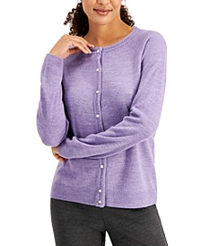 Petite Luxsoft Pearl-Style-Button Cardigan, Created for Macy's