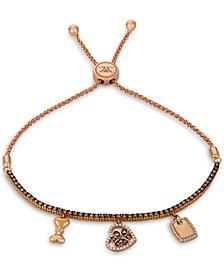 Chocolate Diamond (3/4 ct. t.w.) & Vanilla Diamond (1/5 ct. t.w.) Dog Charm Bolo Bracelet in 14k Rose Gold