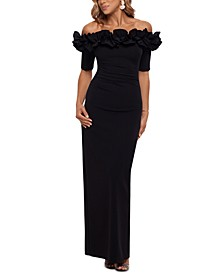 Ruffled Off-the-Shoulder Gown