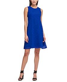 Textured-Dot Chiffon Trapeze Dress