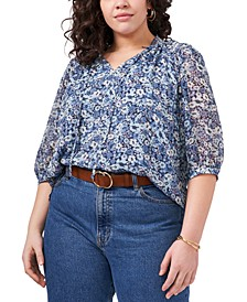 Plus Size Puff Sleeve Spit Neck Garden Cluster Blouse