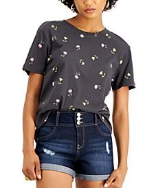 Juniors' Printed Cotton T-Shirt