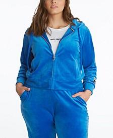 Plus Size Velour Classic Hoodie Jacket