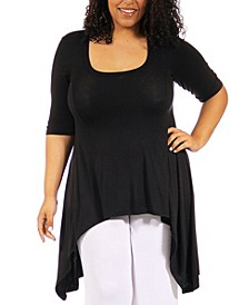 Plus Size Extra Long High Low Tunic Top