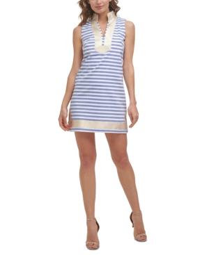 Cotton Striped Metallic-Trim Shift Dress