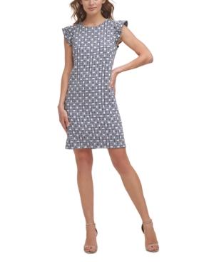 Flutter-Sleeve Jacquard Shift Dress