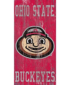 """Fan Creations Ohio State Buckeyes Heritage Wood Logo with Team 6"""" x 12"""" Sign"""