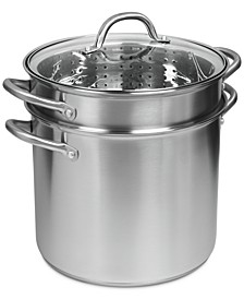 Pro Stainless Steel 12-Qt. Covered Multi-Cooker with Pasta Insert & Steamer Basket