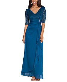 Lace-Top Waterfall-Detail Gown