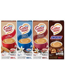 Creamer Variety Pack, Original, French Vanilla, Vanilla Caramel and Snickers, 50 Count, 4pack