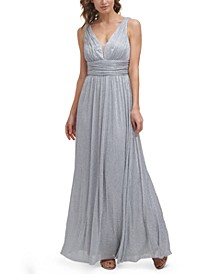 Metallic-Threaded Mesh-Inset Gown