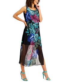 Petite Palm-Print Maxi Dress