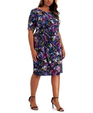 Plus Size Faux-Wrap Sheath Dress