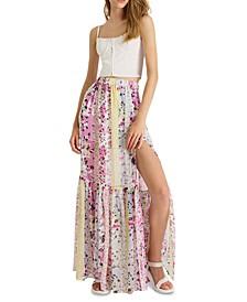 Floral-Print Ezeke Crinkled High-Slit Maxi Skirt