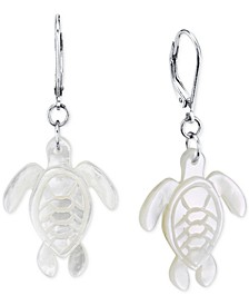 Mother-of-Pearl Sea Turtle Drop Earrings in Sterling Silver