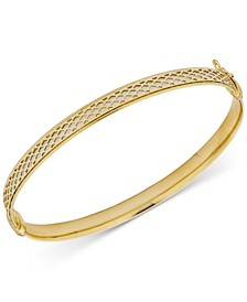 Textured Two-Tone Bangle Bracelet in 10k Gold & White Gold