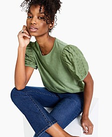 Cotton Eyelet Puff-Sleeve Top, Created for Macy's