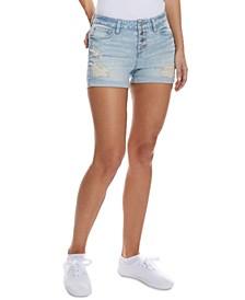 Juniors' Ripped High Rise Denim Shorts