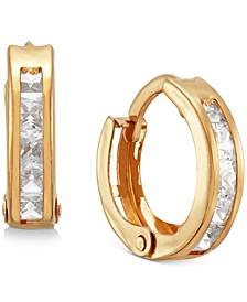 Children's Cubic Zirconia Extra Small Huggie Hoop Earrings in 14k Gold