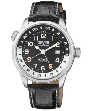 Men's Canal St Swiss Automatic Black Italian Leather Strap Watch 43mm