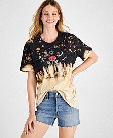 Juniors' Celestial-Print Tie-Dyed T-Shirt