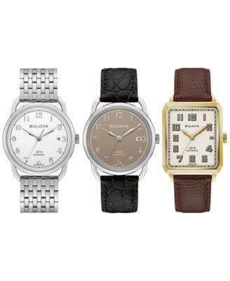 LIMITED EDITION Men's Swiss Automatic Joseph Bulova Black Leather Strap Watch 33x33.5mm