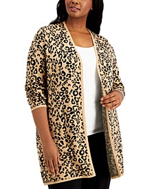Plus Size Animal-Print Cardigan, Created for Macy's