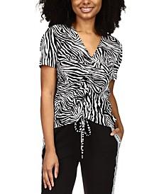 Zebra-Print Drawstring T-Shirt, Regular & Petite Sizes