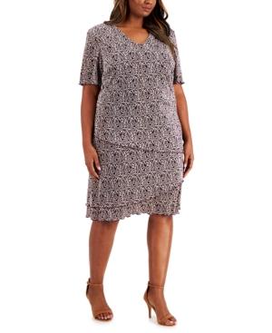 Plus Size Tiered Pleated Sheath Dress