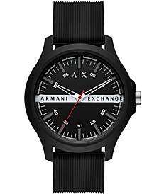 Men's Black Silicone Strap Watch 46mm