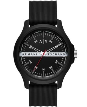 AX ARMANI EXCHANGE AX ARMANI EXCHANGE MEN'S BLACK SILICONE STRAP WATCH 46MM