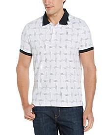 Men's Pima Cotton Abstract Lines Print Polo Shirt