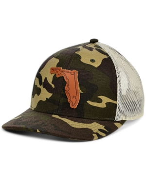 Local Crowns Florida Woodland Leather State Patch Curved Trucker Cap