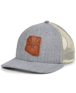 Local Crowns Arizona Heather Leather State Patch Curved Trucker Cap