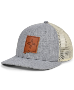 Local Crowns New Mexico Heather Leather State Patch Curved Trucker Cap