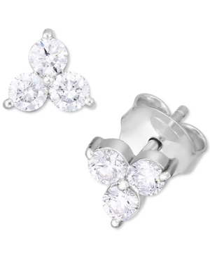 Lab-Created Diamond Cluster Stud Earrings (1/2 ct. t.w.) in Sterling Silver.