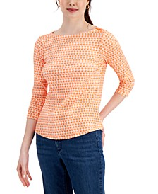 Printed 3/4-Sleeve Supima Cotton Top, Created for Macy's