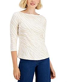 Petite Cotton Zebra-Print Top, Created for Macy's