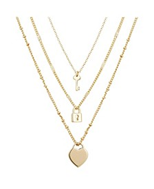 14kt Gold Flash-Plated Heart Lock and Key Layered Pendant 3pc Set