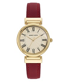 Women's Red Leather Watch 32mm