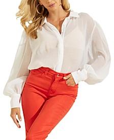 Yora Sheer Balloon-Sleeve Shirt