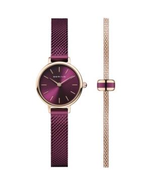 Women's Purple Stainless Steel Mesh Strap Watch Set 22mm