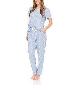 Women's Logo Print Jersey Short Sleeve V-Neck T-Shirt and Jogger, Pajama Lounge Comfy Sleepwear Set, 2 Piece