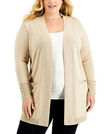 Plus Size Button-Sleeve Cardigan, Created for Macy's