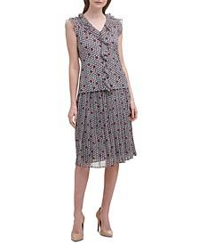 Printed Ruffled Top & Pleated Midi Skirt