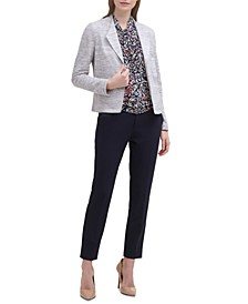 Open-Front Jacket, Printed Knot-Neck Top & Ankle Pants