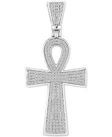 Men's Diamond Ankh Cross Pendant (1 ct. t.w.) in 10k White Gold