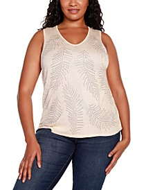 Black Label Plus Size V-Neck Sweater Tank with All Over Rhinestone Detailing