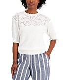 Charter Club Puff Sleeve Eyelet Neckline Sweater Created for Macys